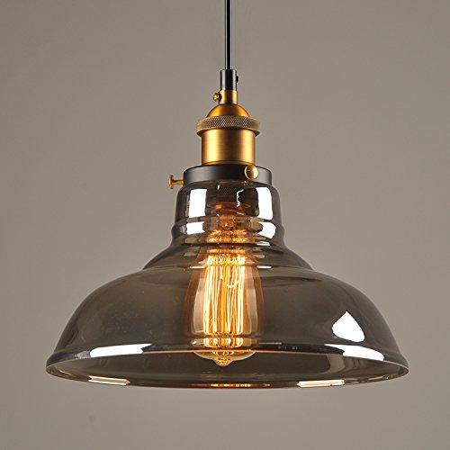 Lampadario a sospensione in vetro vintage, stile industriale, vintage, plafoniere, attacco E27, illuminazione da soffitto, lampada a sospensione (lampadina non inclusa), colore: grigio fumo