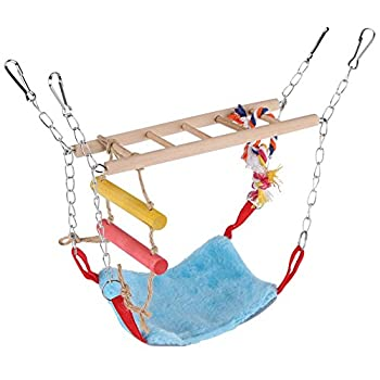 Oiseaux Swing Toy, 3 Couleurs Multi-Fonctionnel Animaux Escalade Balan?oire échelle Lit Accessoires Accessoires Suspendus Décor pour Petits Animaux Oiseaux(Bleu)