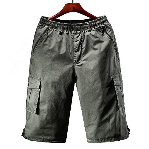 Huposdxjmdk Pantalon Corto Hombre Deporte, 1pc Carga Shorts Men Cremallera Bolsillo Muchos Hombres Pantalón Corto Pantalón Algodón Verano Varío Casual (Color : Green, Size : XXXX-Large)