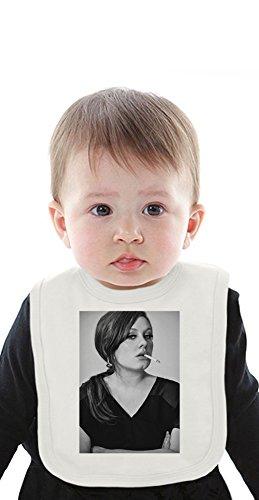 Adele Smoking Cigarette Portrait Organic Baby Bib With Ties Medium