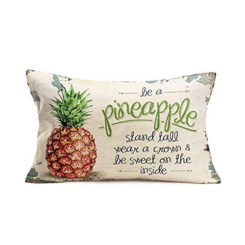 Funda de almohada de lino y algodón, estilo vintage con frase inspiradora de piña, diseño de frutas y verano, para sofá, decoración rectangular de 50 x 76 cm