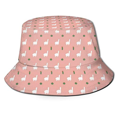 Sombrero de Cubo para Mujeres y Hombres, Sombrero de Cubo de ala Ancha para Exteriores, protección Solar, Gorra de Pescador, Kawaii Llama y Cactus