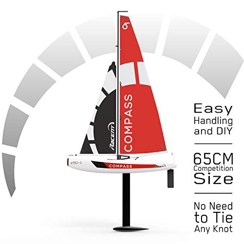 VOLANTEXRC Remote Control Sailing Boat RC Sailboat Compass 650mm 2.4Ghz 2-Channel Ready to Run(RTR) RG65 Class Competition RC Boat RTR for Beginners, Adults (791-1)
