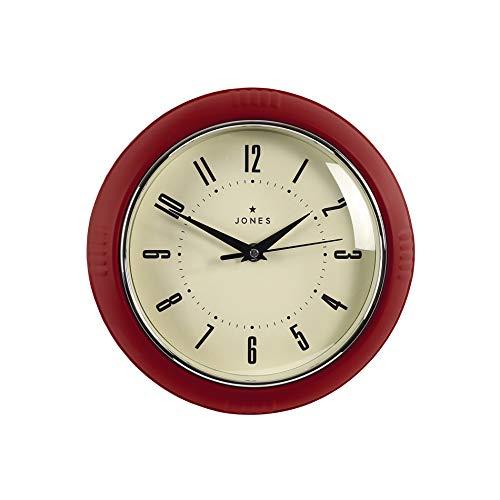Jones Clocks® Reloj de pared retro perfecto para cocina, hogar, dormitorio, oficina, reloj Ketchup, 25 cm Retro 25 cm rojo cereza