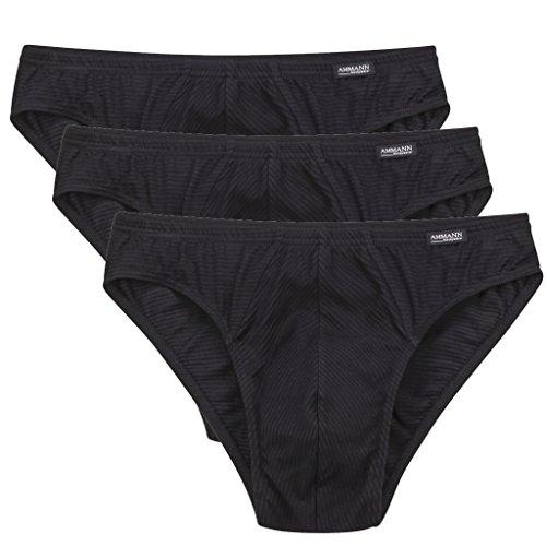 Ammann - Cotton & More - Herren Slip/Unterhose - 3er Pack (7, 3 X Schwarz)
