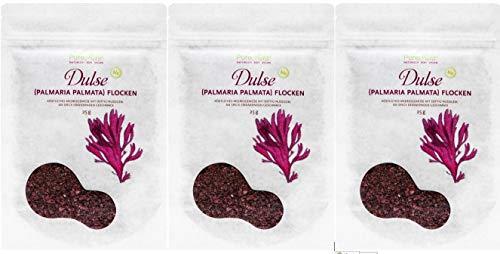 PureRaw Dulse-Flocken Lappentang (bio, roh, vegan) Rotalge Palmaria Palmata (3 x 25 g)