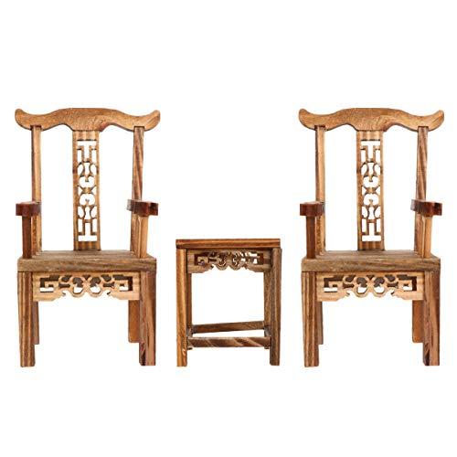 Nbrand - Juego de muebles de casa de muñecas de madera en miniatura, estilo retro, silla china, mesa de té, modelo de juguete para la casa de muñecas, decoración para niños y niñas