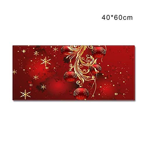 Weihnachtsteppich Runner 3D Caroset Teppich-Fußmatte für Eingangsbereich/Wohnzimmer/Schlafzimmer/Badezimmer Rutschfester Eingangsbereich, S/M/L, 4 Muster