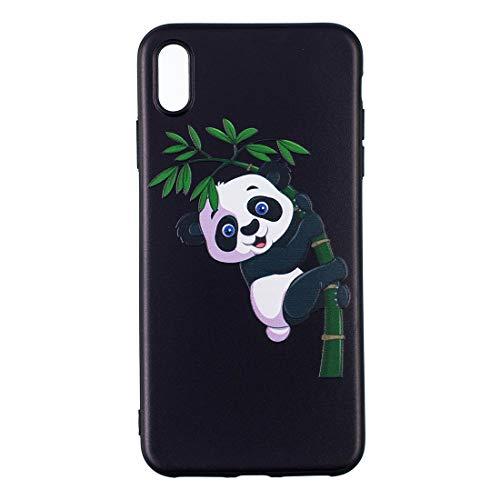 JiuRui Custodie e Cover per iPhone 6 Plus, Custodia Protettiva in TPU con Motivo Goffrato per iPhone 6S Plus (Pattern : Panda And Bamboo)