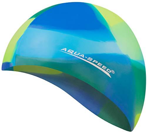 Aqua Speed Coole Badekappe | Frauen & Männer | Bademütze | Badehaube | wasserdichte Schwimmhaube für Erwachsene Kinder I Swimming Cap Silicon I 11. Bunt + Kleines Mikrofasertuch - 94