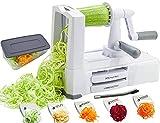 Coupe-légumes en Spirale avec 5 Lames, Couteau à Spaghetti Zucchini, Couteau à Spaghetti Zoodle, Couteau à Mandoline le Plus Puissant avec Couvercle, Pinceau et Récipient