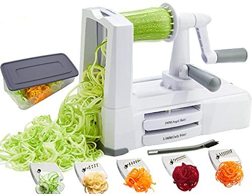 Spiralizzatore di verdura con 5 lame, Affettatrice di verdura per fare noodle, spaghetti di zucchine attrezzo per zucchine, Zucca, Spiralizer di verdura con contenitore, coperchio, spazzola