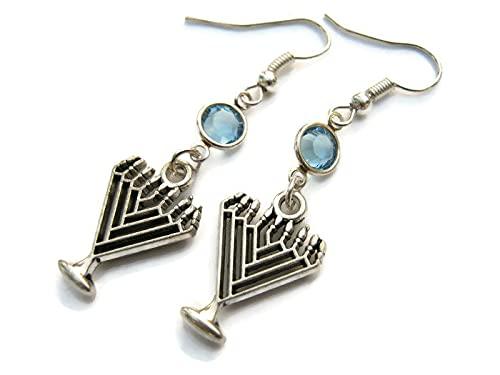 Menorah Birthstone Earrings, Hanukkah Earrings, Jewish Jewelry, Personalized Israeli Earrings, Judaism Gift