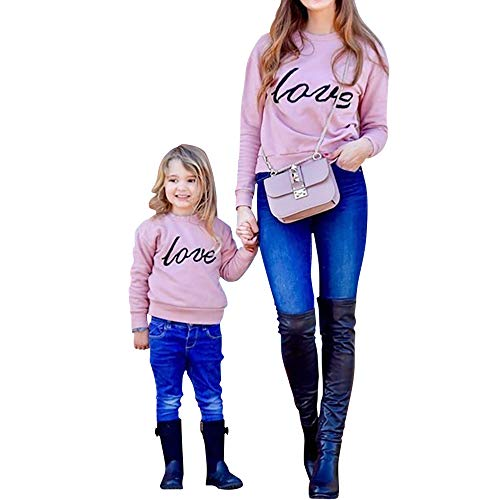 PopReal Mommy and Me Matching Outfits Love Letter Print Long Sleeve Clothes Pullover Sweatshirt