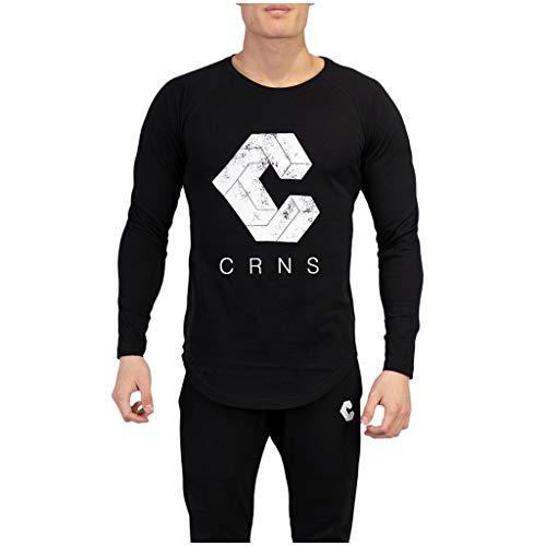 Luotuo Herren T-Shirt Outdoor Sports Laufen Lange Ärmel Muskulös Oberteil Einfarbig Drucken Baumwolle Langarmshirts Slim Sweatshirts