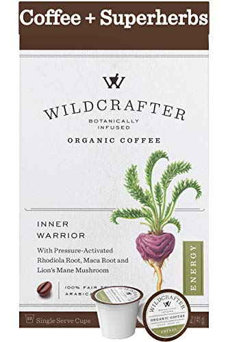 Wildcrafter Botanicals Organic Coffee K Cups - Natural Energy Booster Infused with a Rhodiola, Maca Root & Lions Mane Mushroom Blend. 36 Dark Roast Herbal Pods - Works with K-Cup Brewers & Keurig 2.0