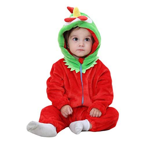 YOUJIAA Bébé Filles Garçons Barboteuse en Flanelle Costume Animale Manche Longue Chaud à Capuche Combinaison (Rouge Coq, 90)