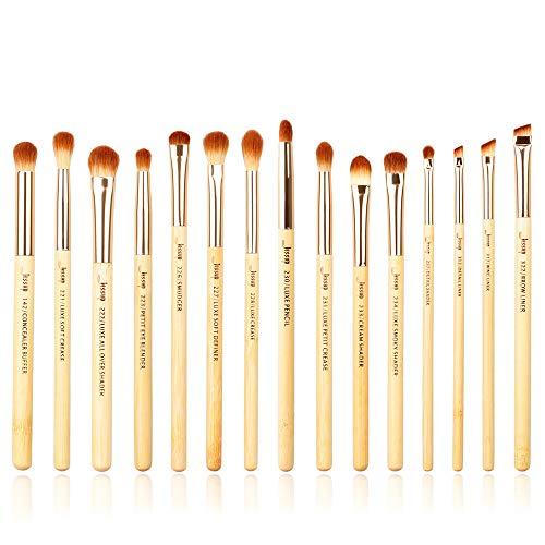Jessup Eye Makeup Brushes Set, Premium Synthetic Eyeshadow Blending Concealer Eyebrow Eyeliner Brush, 15pcs Labeled Bamboo Make Up Brushes T137