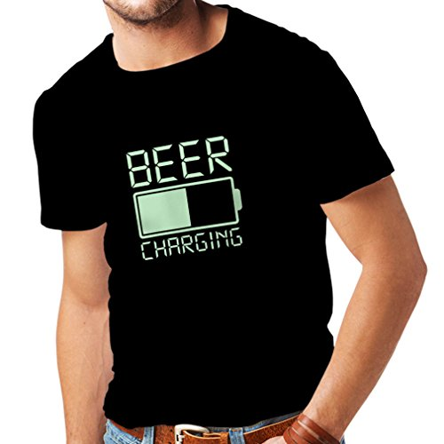 lepni.me Maglietta da Uomo Ricarica della Birra, Citazioni Divertenti, Umorismo da Bar per Gli Amanti della Birra (X-Large Nero Fluorescente)