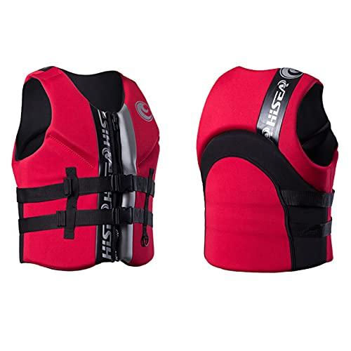 HLYT-0909 Chaleco salvavidas ligero de neopreno unisex con correa de seguridad ajustable para vela, surf, navegación, kayak, rojo, XL
