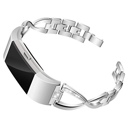 Mtozon Bands Compatible with Fitbit Charge 2, Slim Bling Metal Bands with Rhinestone Replacement Bracelet Women, Silver
