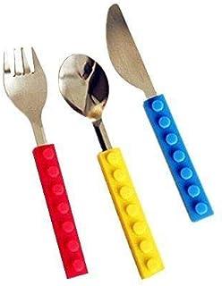 أدوات بناء مكعبات بناء من ستك كيدز مجموعة شوكة ملعقة وسكين من الفولاذ المقاوم للصدأ مجموعة أدوات مائدة