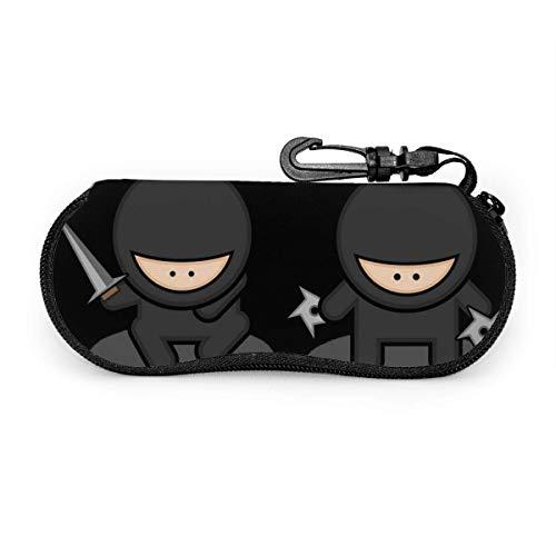 WH-CLA Funda De Gafas Del Sol,Dibujos Animados De Ninja Negro Dos,Estuche Unisex Para Gafas,Funda De Neopreno Con Cremallera Gafas,Estuche Portátil Para Las Gafas
