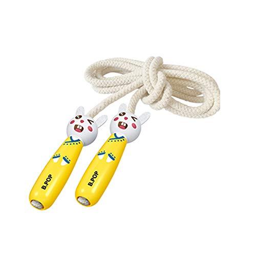 LIXILI Cuerda De Salto para Niños, 7 Pies De Algodón Ajustable Saltando Cuerda con Mango De Madera para Niños Y Niñas. Fitness Al Aire Libre,Amarillo