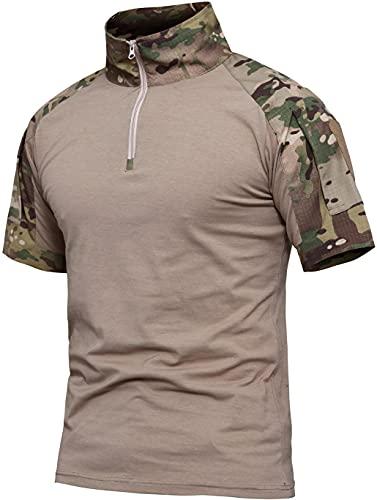 Memoryee Camisa de Manga Corta de Combate del ejército táctico Militar para Hombre Camiseta Ajustada de Camuflaje con Cremallera de 1/4 y Bolsillos/CP Camouflage/XL