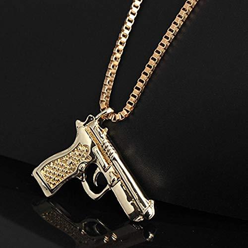 N / A Gotische Halskette Punk Hiphop Style Pistole Waffe Pistole Anhänger Kette Herren Halskette für Männer Famle Party Wearring Halsketten Schmuck-Hellgelb Gold Farbe