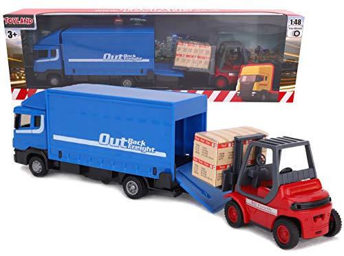 TOYLAND® - Juego de vehículos Diecast Metal Load and Go - Camión de Carga Scania con Carretilla elevadora y Paleta - Juguetes para vehículos de Transporte - Juguetes para niños (Azul)