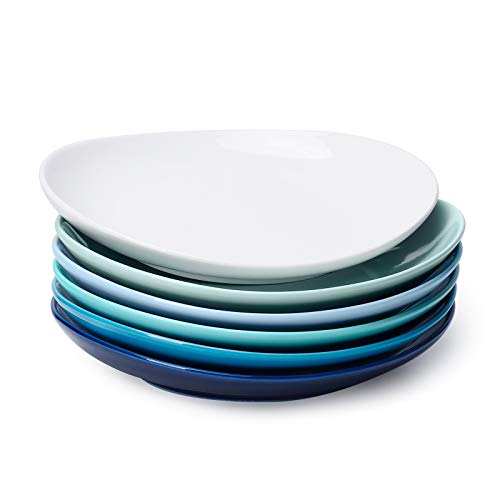 Sweese 151.003 Dessertteller Set, 6-teilig, Kuchenteller Frühstücksteller aus Porzellan, Blaue Serie, 19 cm