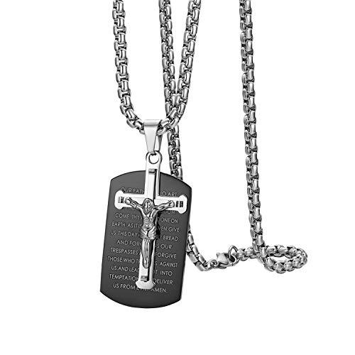 Oidea - Collana da uomo con ciondolo a forma di croce, in acciaio INOX, stile vintage, motivo: Bibbia, preghiera di Gesù, con catenina da 56 cm, colore: nero/argento