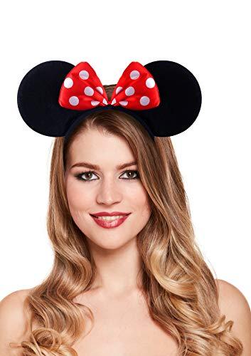 Minnie Mouse Ohren auf Stirnband mit roter Schleife und weißen Punkten