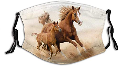 Face Mask Animals Cubs Two Horses Running in The Sand Balaclava Unisex Reusable Windproof Mouth Bandanas Outdoor Camping Motorcycle Running Neck Gaiter Made in USA