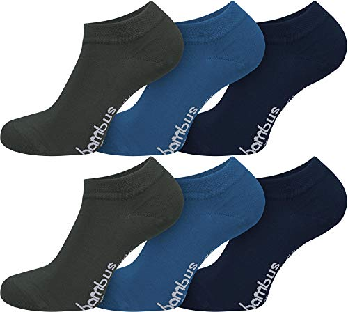 normani 6 Paar Bambus Sneaker Socken in verschiedenen Designs - weiches Material Farbe Anthrazit/Blau/Marine Größe 47/50