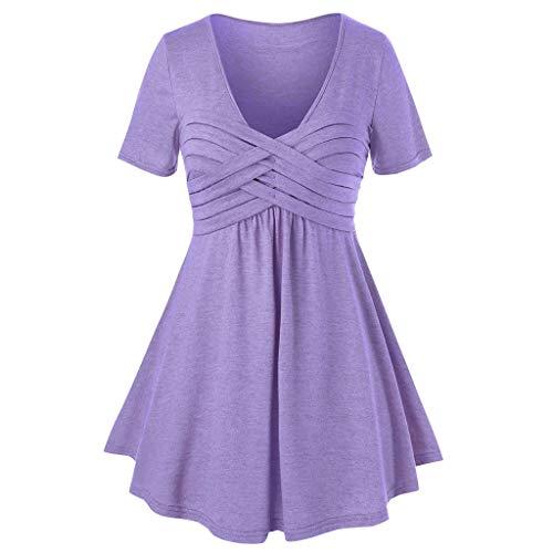 HULKY Damen Vintage Kurzarm Pullover Obereile Frauen V-Ausschnitt Bandeau Crisscross T-Shirt Tops Übergroßes Gothic Kleid Top Tee(Lila,XXL)