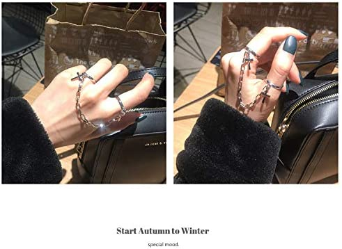 MELLIFO Chain Finger Rings Adjustable Stackable Vintage Silver Punk Statement Ring for Women Girls