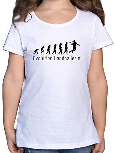 Evolution Kind - Handballerin Evolution Wurf - 116 (5/6 Jahre) - Weiß - mädchen Handball Trikot - F131K - Mädchen Kinder T-Shirt