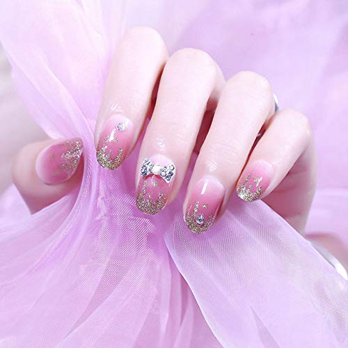 rpbll 24Pcs/box Full Cover Short round press on nails Pink Dripping Shape Heart Bride nail tips Wearable Fake Nail with Glue for girls style10