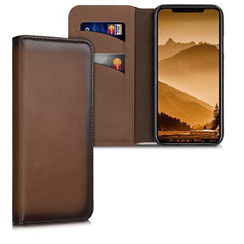 kalibri Funda Compatible conApple iPhone XS -Carcasa de Cuero con Soporte y Tarjetero con Tapa marrón Vintage