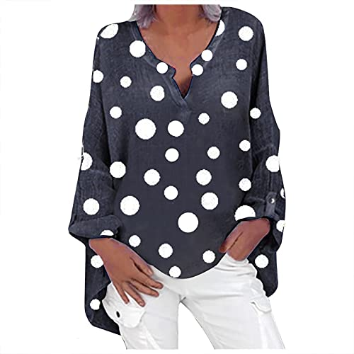 Blusa de Manga Larga para Mujer, Blusa de Lino, Elegante Camisa de Manga Larga con Lunares, Cuello en V, Camiseta Larga,Suelta, de Lino (Azul Marino, XL)