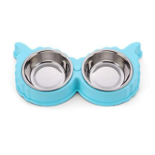 Yemiany Comedero doble para gatitos,Comedero para perros y gatos,Cuenco para perros de acero inoxidable con alfombrilla antideslizante Cuencos para mascotas con soporte para orejas(Azul,30X15X4CM)