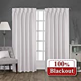 Magic Drapes Home Decoration 100% Blackout White Polyester Double Pinch Pleated Curtains for Bedroom Living Room Kitchen doorways Outdoor Hospital Hotel (52x84, White)