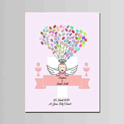 DIY Finger Doodle Bruiloft Getuige Partij Verjaardag Vingerafdruk Aanwezigheid Teken Baby Engel Patroon Thuis Decor Souvenir Behang Beeld 30x40cm