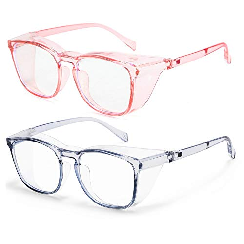 Protective Eyewear Safety Goggles Clear Anti-fog/Anti-Scratch Safety Glasses Men Glasses, Transparent Frame (2pcs-blue&pink)