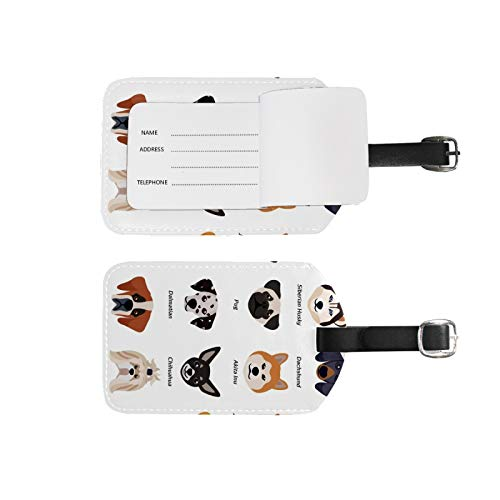 Luggage Tags Address Name Holder,2Pcs Portable Identifier Label Set Checked Card Bag Decoration Travel Gear Gifts,Dogs Faces Set for Suitcases Bags