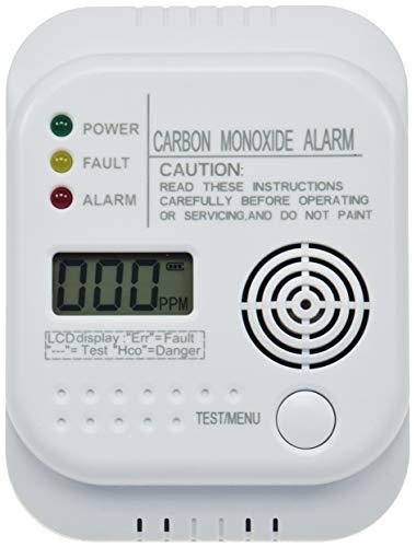Kohlenmonoxid CO Melder mit Display Temperatur Anzeige I Testknopf I EN 50291 Zertifiziert I Für Gastherme Kamin
