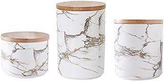 XINXI-YW Design 3PCS Nordic Céramique Réservoir de Stockage Pot de Couverture en Bois Fruits secs Bonbons Alimentaires Div...