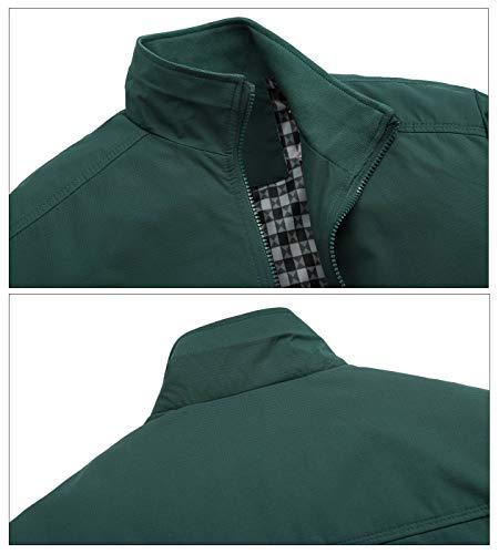 AIEOE - Chaqueta para Hombre Bombers Jacket Manga Larga sin Capucha Outwear for Man para Otoño Primavera - Verde - Talla ES M